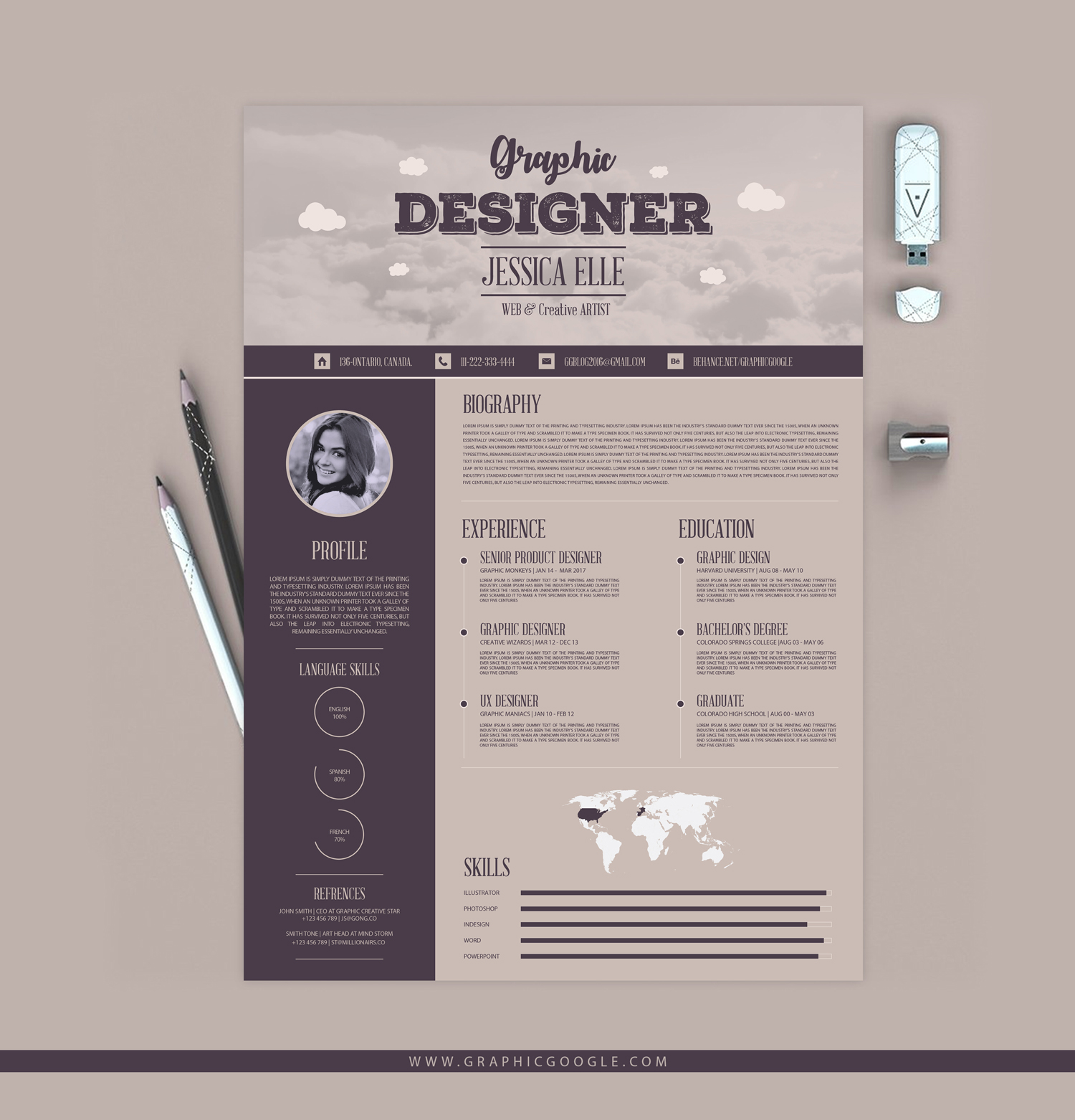 free creative vintage resume template
