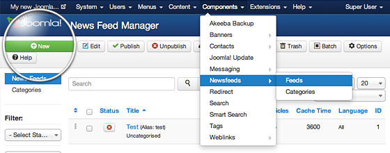 Joomla Component Page