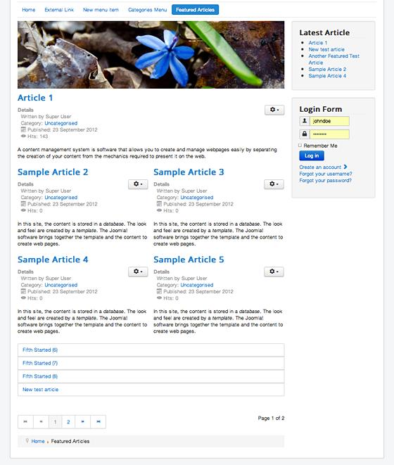 Joomla Featured Article