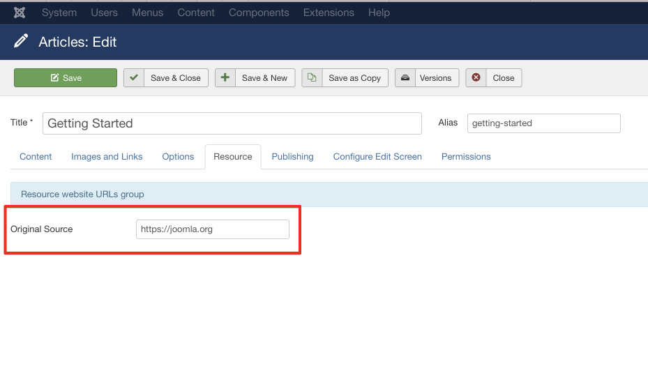we put resource URL as joomla.org for example