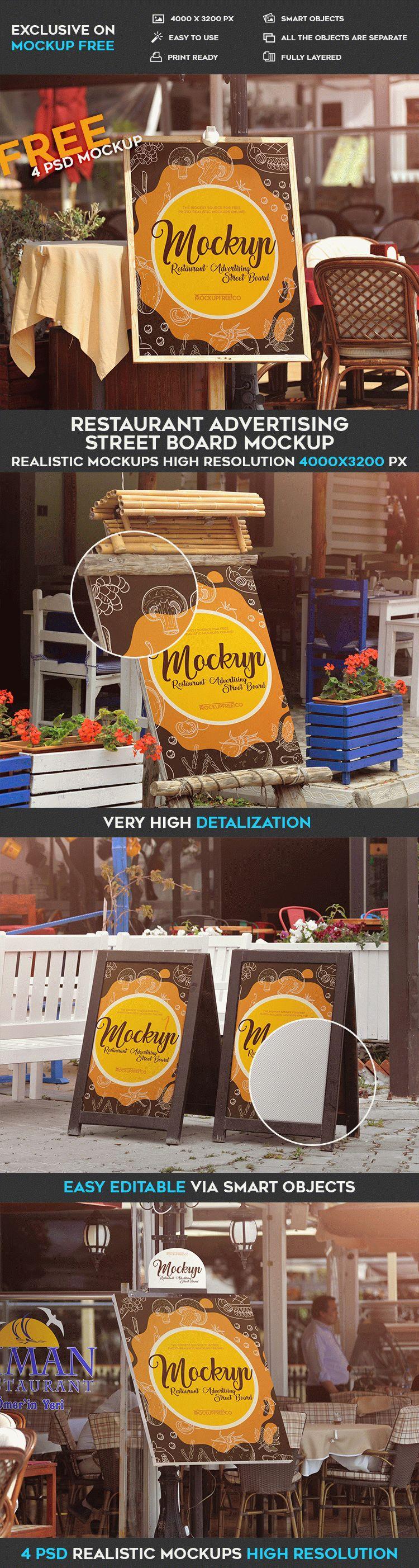 Restaurant Advertising Street Board Free PSD MockUps