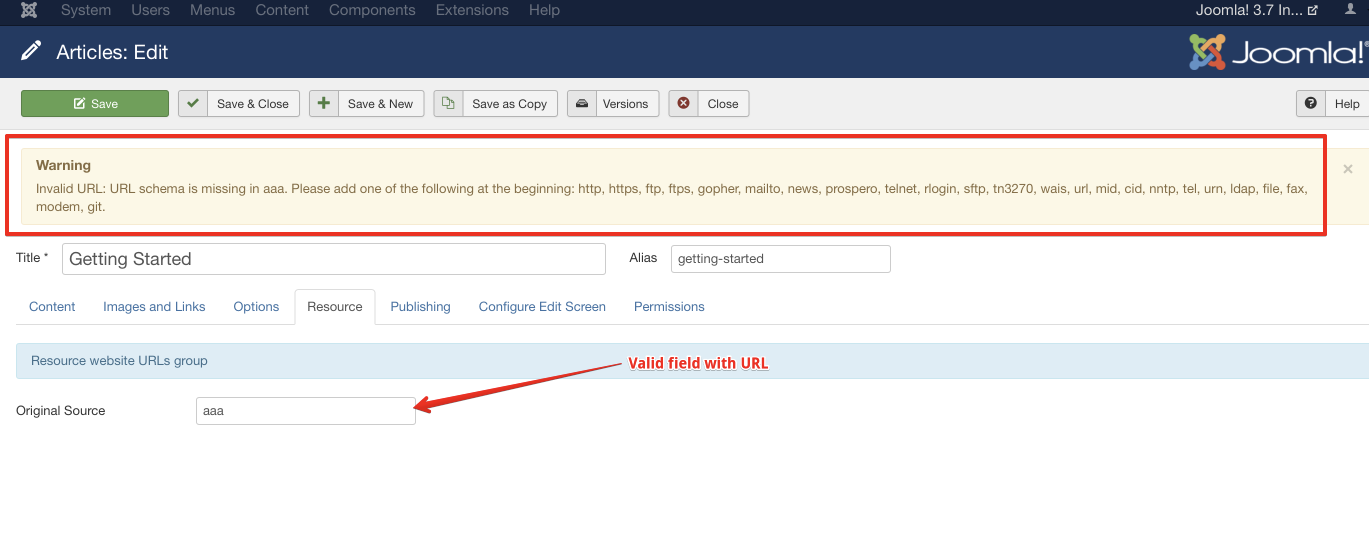 This is a valid field as we selected URL field during create Custom Field