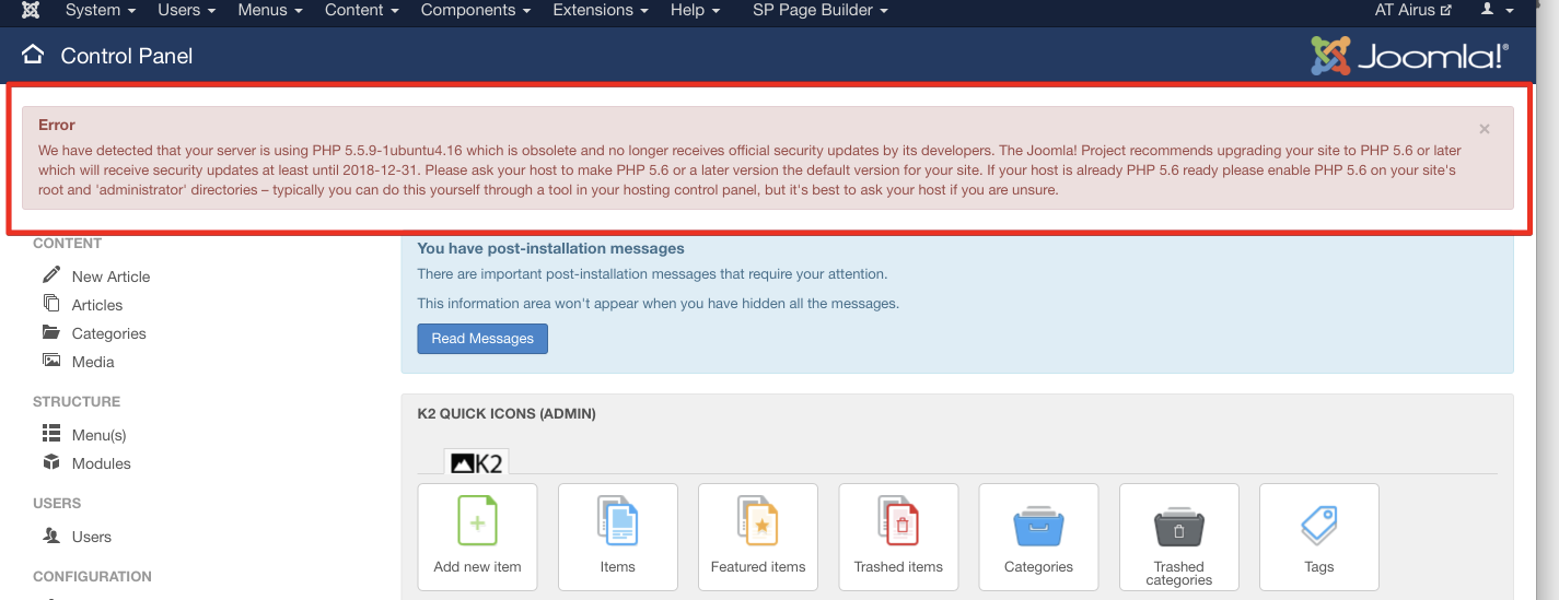 joomla php warning problem