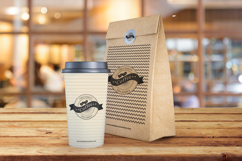 Coffee Cup With Paper Bag Packaging Mockup Free Template