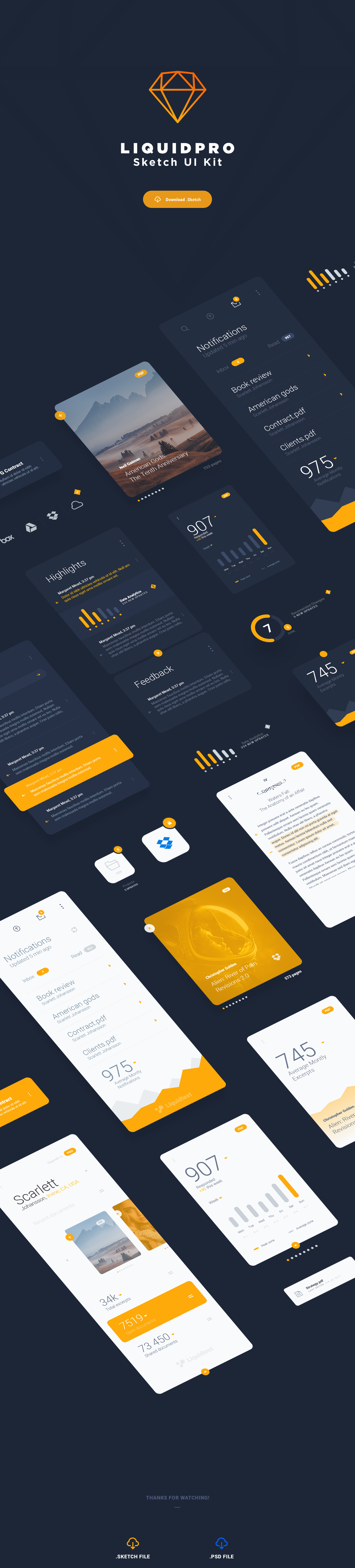 LiquidPro – Free Sketch UI Kit