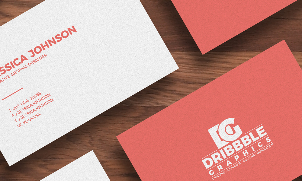 Isolated Business Card Mockup On Wooden Background
