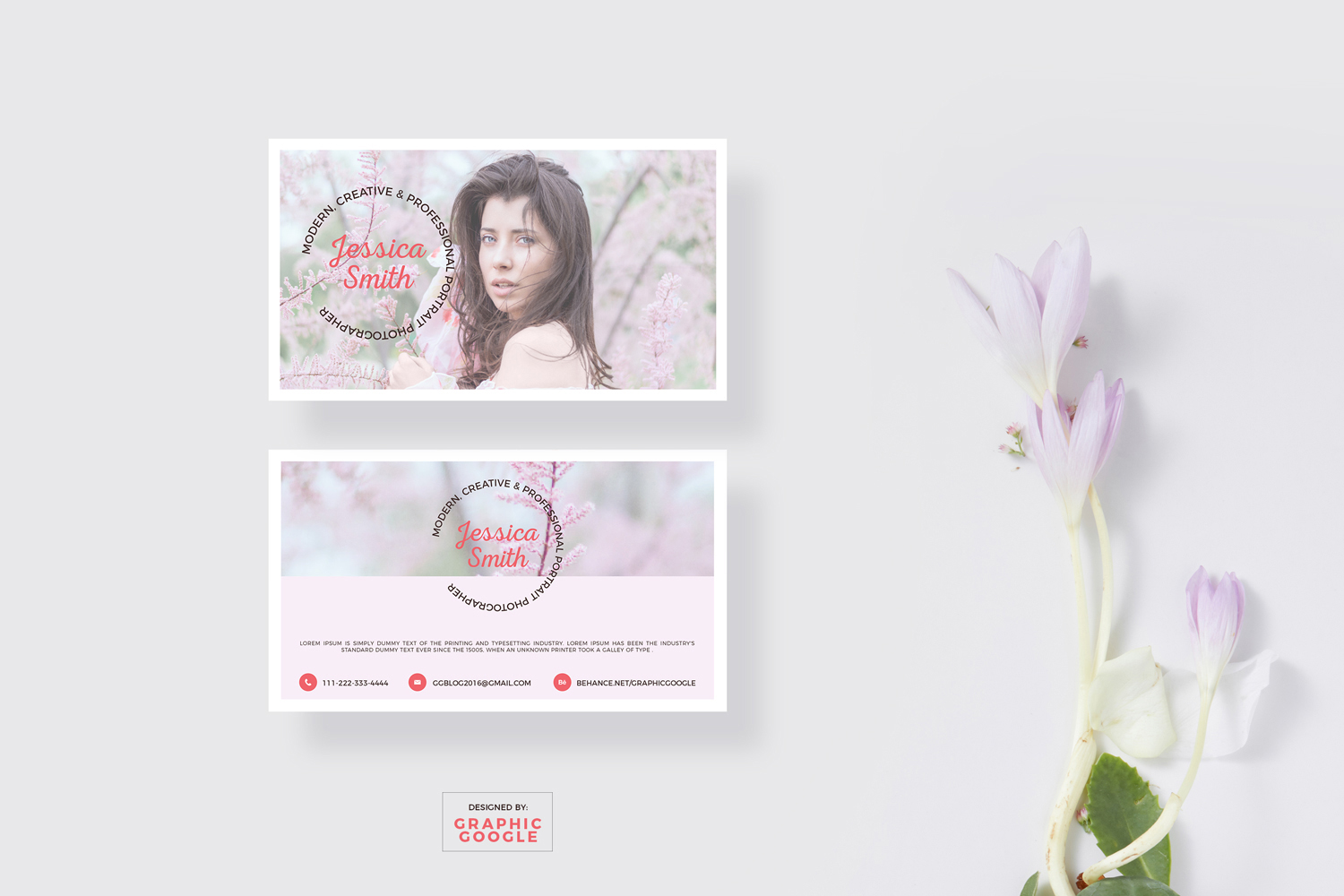 Blooming Business Card Mockup & Photographer Design