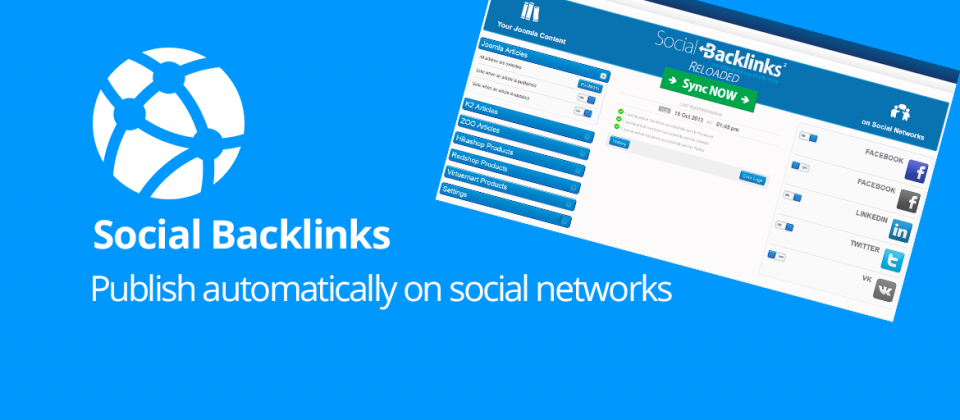 Social Backlinks joomla social share extension
