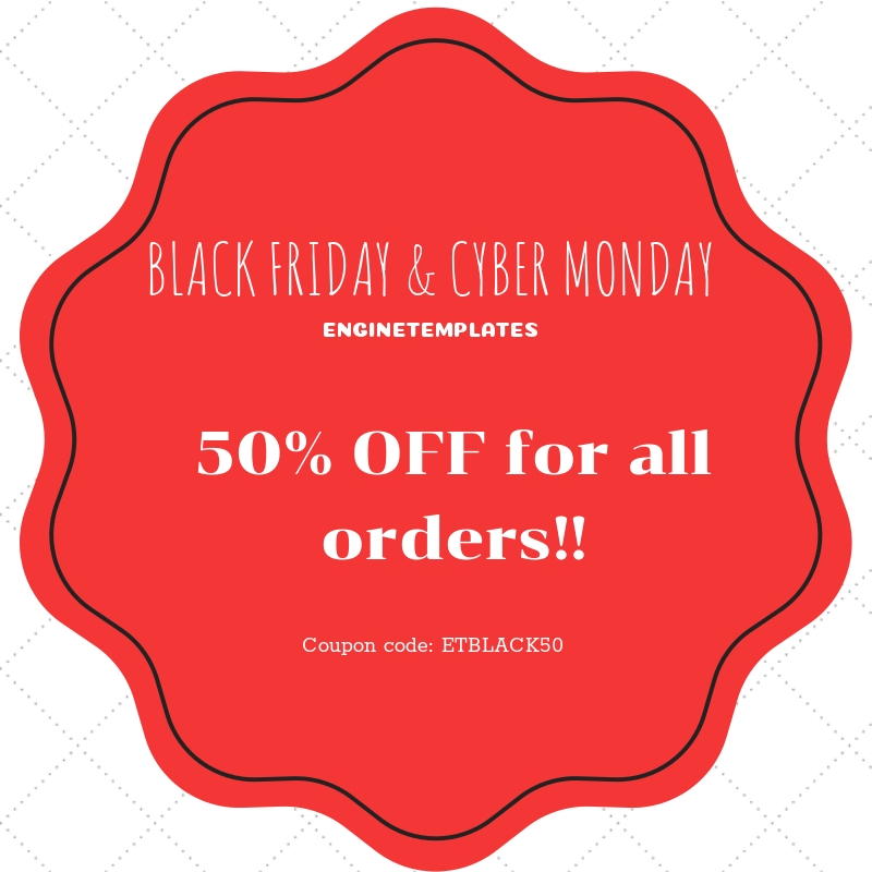 Enjoy a great Black Friday & Cyber Monday with 50% OFF!