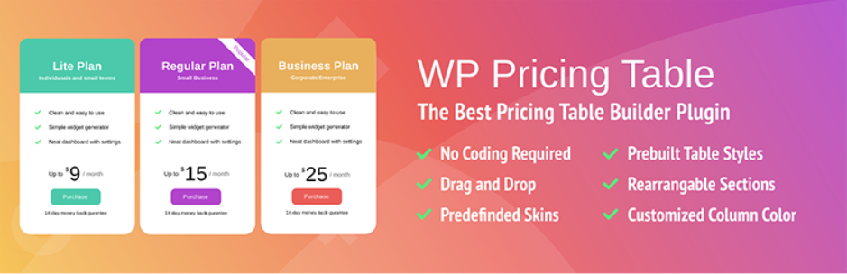Pricing Table Builder – The Best Price Table Builder Plugin