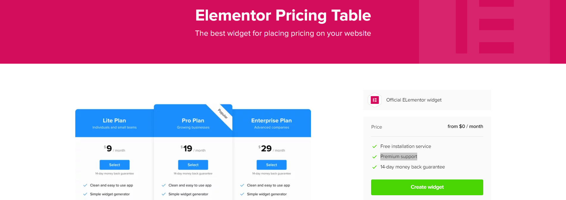 elementor pricing table 3