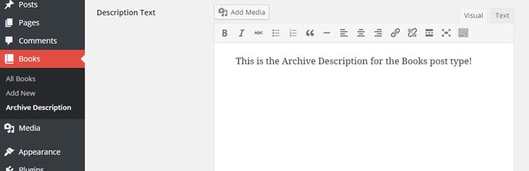 Post Type Archive Descriptions