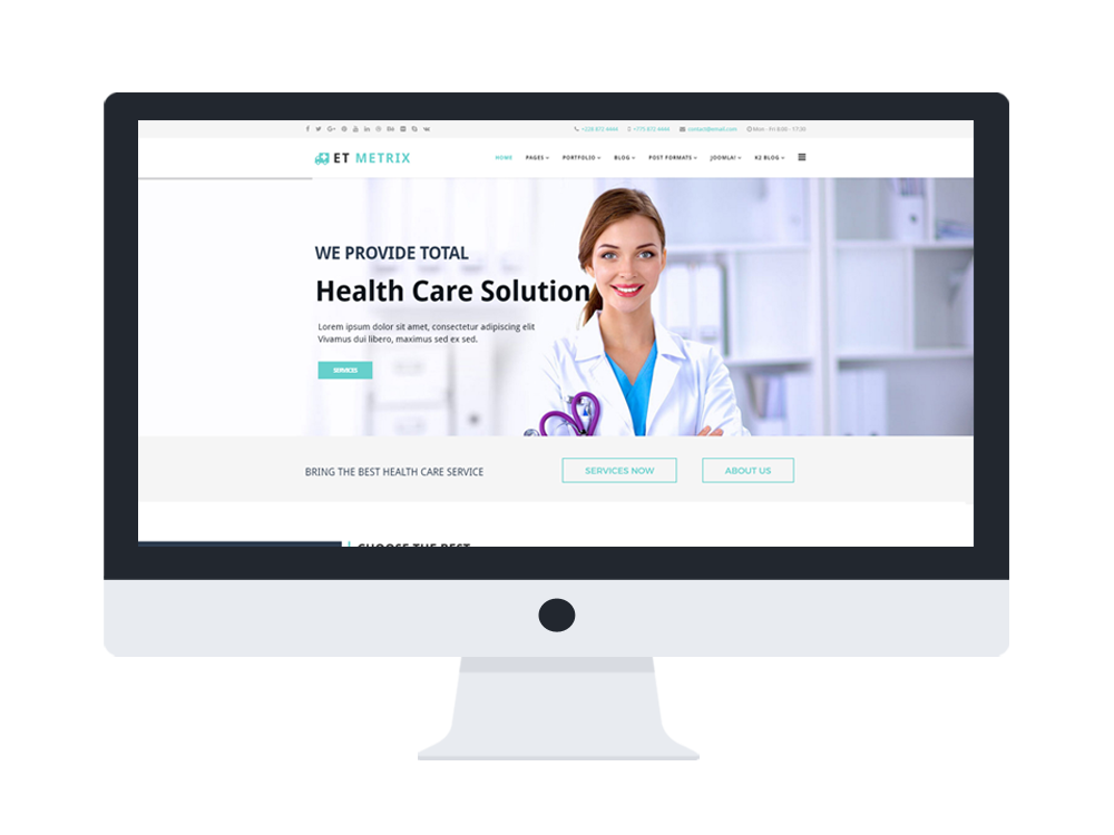 Et metrix free responsive healthcare medical joomla templates fbccfo Image collections