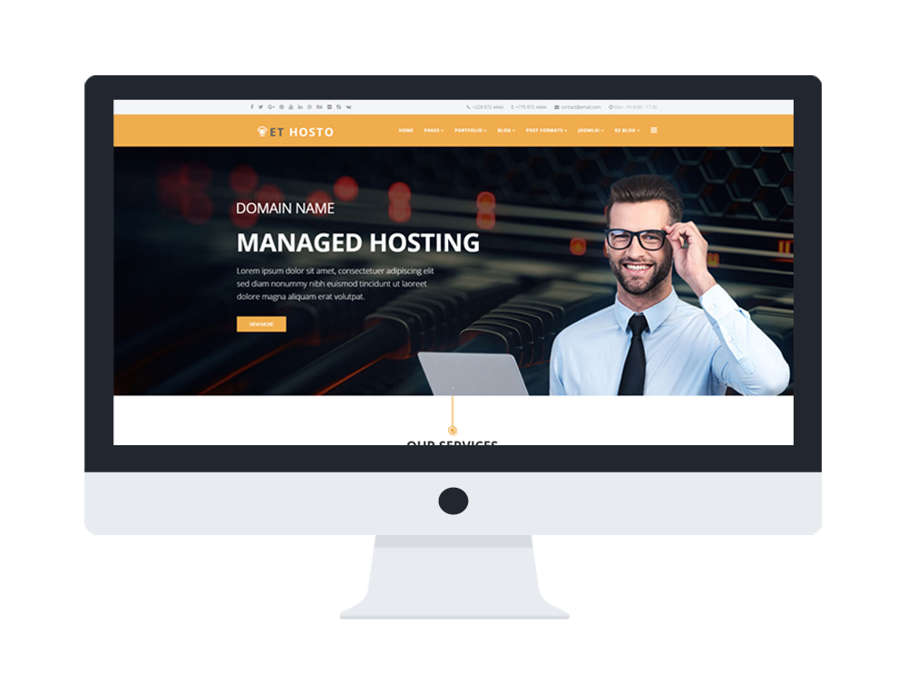 Et hosto free responsive hosting joomla templates flashek Image collections