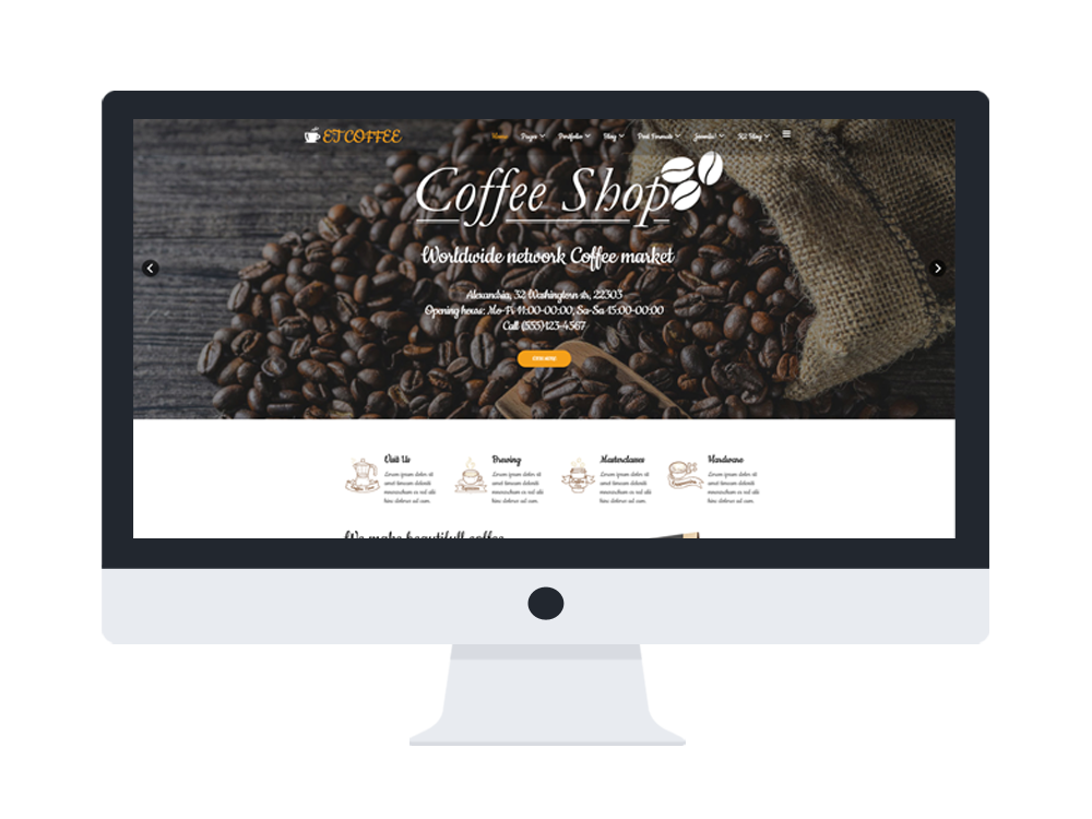 et coffee free responsive coffee website templates. Black Bedroom Furniture Sets. Home Design Ideas