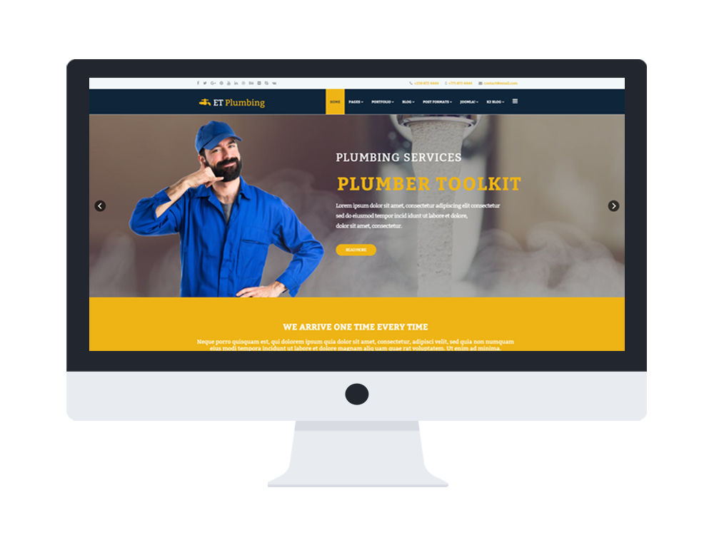 et plumbing free responsive plumbing website template. Black Bedroom Furniture Sets. Home Design Ideas