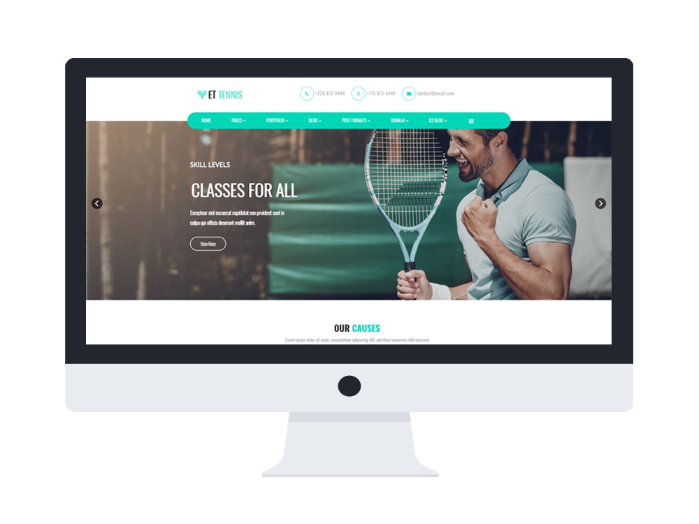 et tennis free responsive tennis website template. Black Bedroom Furniture Sets. Home Design Ideas