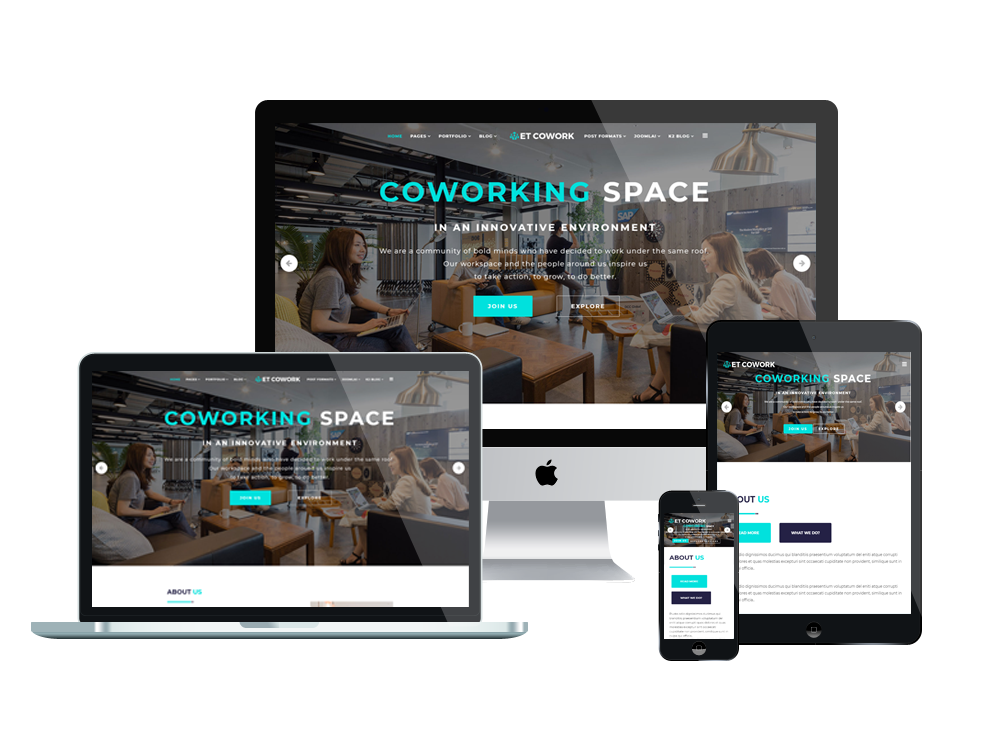 ET Cowork – Free Responsive Coworking space website template