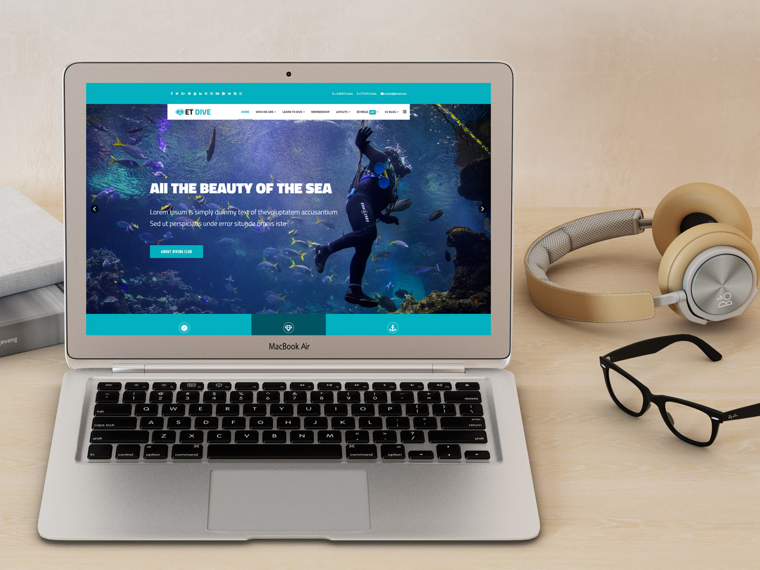 et dive  u2013 free responsive scuba diving website template