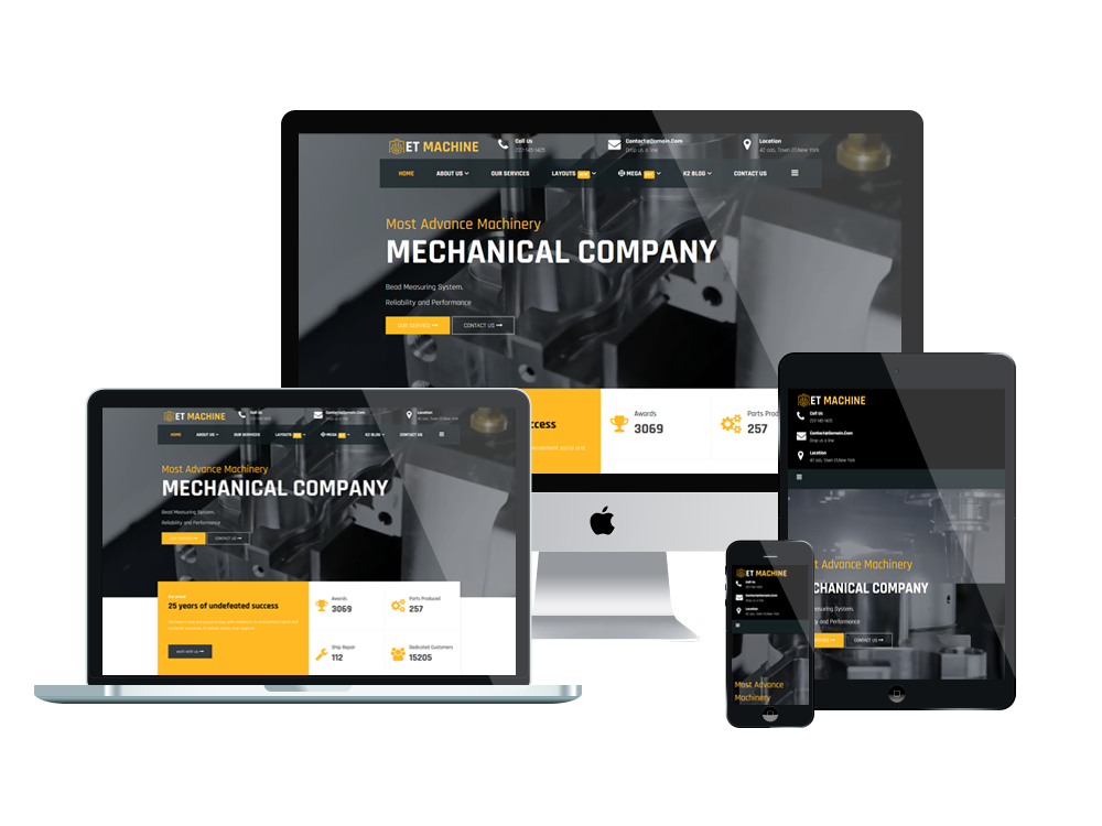 ET Machine – Free Responsive Industrial website template - Engine