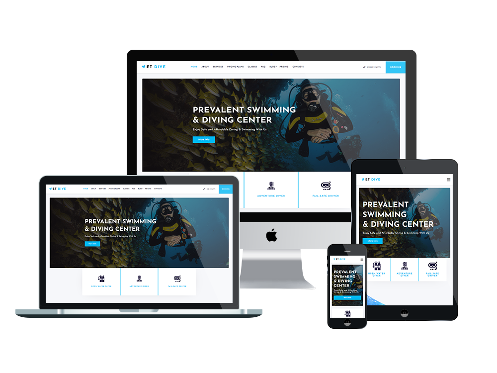 Et Dive Free Responsive Diving Wordpress Theme Engine Templates